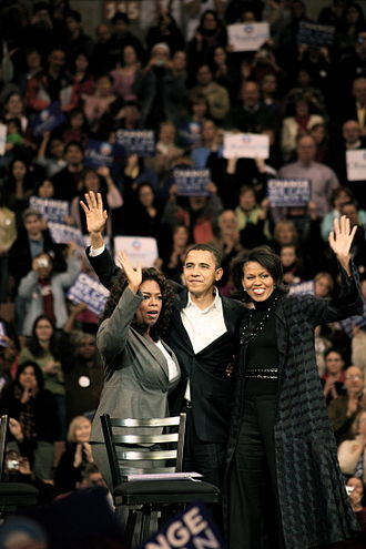 Oprah Winfrey's endorsement of Barack Obama - Winfrey joins Barack and Michelle Obama on the campaign trail (December 10, 2007)