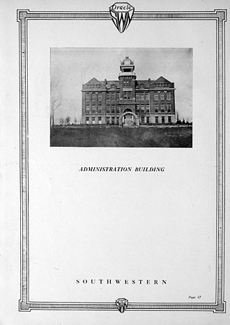 Southwestern Oklahoma State University - Southwestern administration building in 1919
