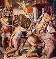 Orazio Samacchini El emperador Otón I reintegra los Estados de la Iglesia al papa Agapito II Sala Regia 1563-4.jpg
