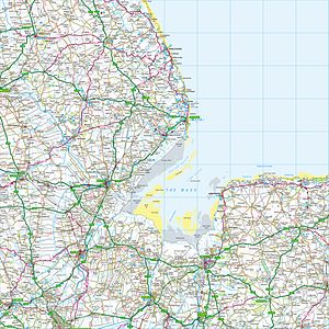 Ordnance Survey - Grid square TF from the Ordnance Survey National Grid, shown at a scale of 1:250,000. The map shows the Wash and the North Sea, as well as places within the counties of Lincolnshire, Cambridgeshire and Norfolk
