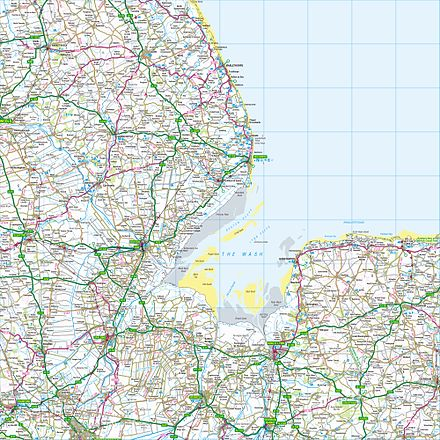 Grid square TF. The map shows The Wash and the North Sea, as well as places within the counties of Lincolnshire, Cambridgeshire and Norfolk. Ordnance Survey 1-250000 - TF.jpg