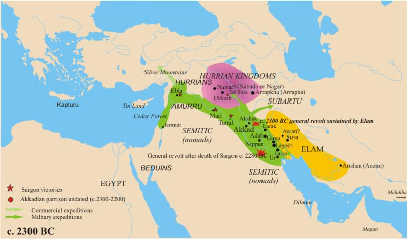 l'impero accadico alla sua massima espansione