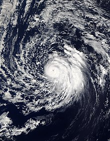 Visible satellite imagery of an intense yet fairly asymmetric Hurricane Oscar on October 29