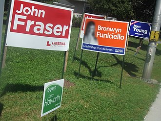 Ottawa South (provincial electoral district) - Election signs for John Fraser (Liberal), Taylor Howarth (Green), Bronwyn Funiciello (NDP) and Matt Young (PC)