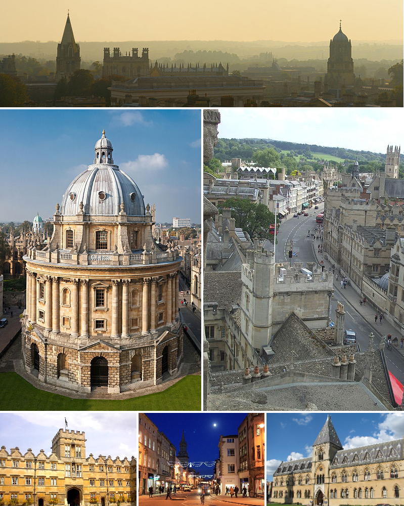From top left to bottom right: Oxford skyline panorama from St Mary's Church; Radcliffe Camera; High Street from above looking east; University College, main quadrangle; High Street by night; Natural History Museum and Pitt Rivers Museum.