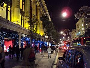 Outside Selfridges, Oxford Street, London.