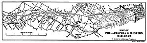 Philadelphia and Western Railroad - Map of the original system circa 1907 which included only the Strafford Branch