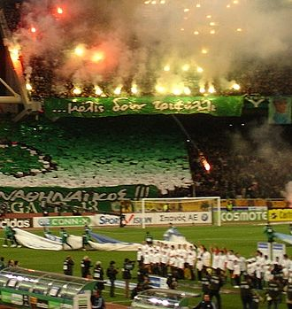 Panathinaikos F.C. - Fans of Panathinaikos in the Olympic Stadium of Athens