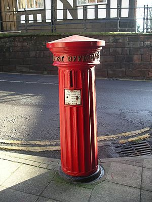 Pillar box - 1856 type PB1/viii at the West Gate, Warwick, Warwickshire, England