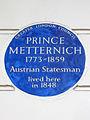 PRINCE METTERNICH, 1773-1859 Austrian Statesman lived here in 1848.JPG