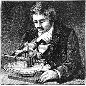 A blind man writing with the Mauler machine
