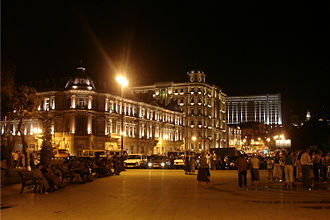 "SOCAR - SOCAR's previous Head Office on Azneft Square in downtown Baku, named after historical ""Azneft"" (""AzOil"") trust"