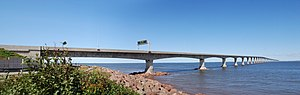 Confederation Bridge - Confederation Bridge in 2008,   New Brunswick side