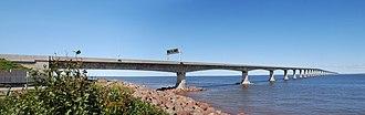 Confederation Bridge - Confederation Bridge in 2008,   New Brunswick side