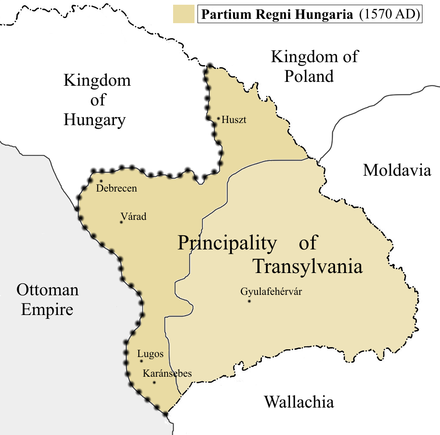 The Principality of Transylvania, the successor of Eastern Hungarian Kingdom (1570). Partium is depicted in the darker color