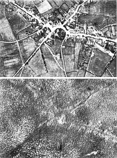 Aerial view of the village of Passchendaele (north is to the right of the photo) before and after the Third Battle of Ypres, 1917.