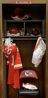 Mahomes' locker, filled with gear