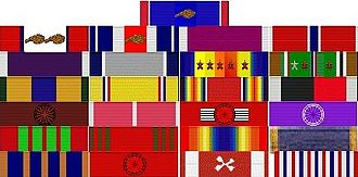 Service ribbon - General George S. Patton's ribbon rack.