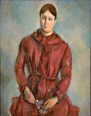 Marie-Hortense Fiquet - Paul Cézanne (1839-1906), Hortense Cézanne in a Red Dress, c.1890, São Paulo Museum of Art