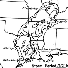Map of rainfall totals over the Central United States from the hurricane