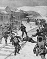 Pennsylvania - the mining troubles in the Schuylkill region - attack on the coal and iron police by a mob of Polish strikers, at Shenandoah, February 3d - from a sketch by Joseph Becker. LCCN98511383 (cropped).jpg