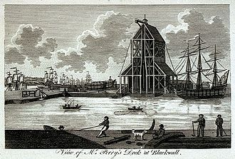 Blackwall Yard - View of Mr Perry's Dock at Blackwall, c.1789, from the National Maritime Museum, Greenwich