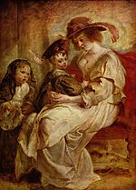 Hélène Fourment with two of her children, c. 1636.