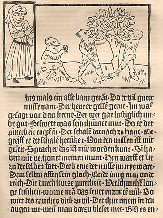 Incunable - First incunable with illustrations, Ulrich Boner's Der Edelstein, printed by Albrecht Pfister, Bamberg, 1461.