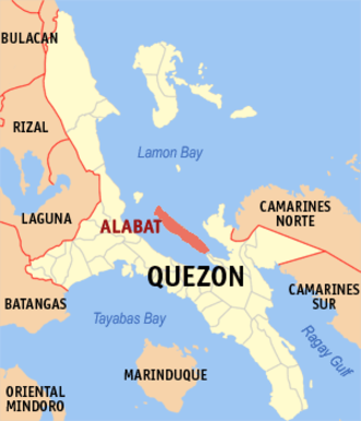 Alabat Island - Location within Quezon province