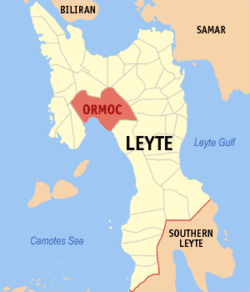 Map of Leyte with Ormoc highlighted