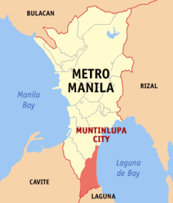 Map of Metro Manila showing the location of Muntinlupa City  14°22′60″B, 121°2′60″Đ