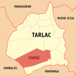 Map of Tarlac showing the location of Capas
