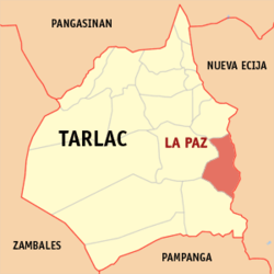 Map of Tarlac showing the location of La Paz