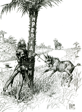 "Uncle Sam (representing the United States), gets entangled with rope around a tree labelled ""Imperialism"" while trying to subdue a bucking colt or mule labeled ""Philippines"" while a figure representing Spain walks off over the horizon carrying a bag labeled ""$20,000,000""."