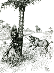 "A black-and-white political cartoon. Uncle Sam (representing the United States) gets entangled with rope around a tree labeled ""Imperialism"" while trying to subdue a bucking colt or mule labeled ""Philippines"" while a figure representing Spain walks off over the horizon."