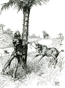"A black-and-white political cartoon.  Uncle Sam (representing the United States), gets entangled with rope around a tree labeled ""Imperialism"" while trying to subdue a bucking colt or mule labeled ""Philippines"" while a figure representing Spain walks off over the horizon."