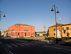 Guglielmo Marconi Square and Town Hall in the centre of Bagnolo di Po