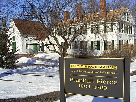 The Concord, New Hampshire house where Pierce lived from 1842 to 1848 is now known as the Pierce Manse. The house was restored in the 1970s and is now maintained as a historic attraction.[47]
