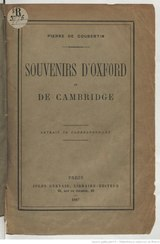 Pierre de Coubertin Souvenirs d Oxford et de Cambridge 1887.djvu
