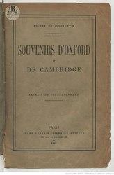 Pierre de Coubertin: Souvenirs d'Oxford et de Cambridge