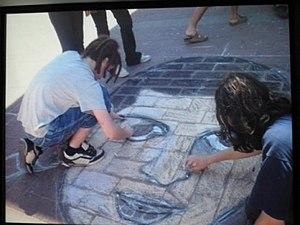 "Gilad Shalit - ""Free Gilad"" sidewalk painting"