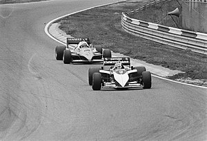 1983 Dutch Grand Prix - Nelson Piquet and Alain Prost prior to their collision.