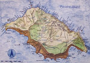 History of the Pitcairn Islands - Pitcairn Island map