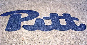 "Bob Gessner - The ""script Pitt"" logo designed by Gessner, seen here embedded in the plaza outside of the William Pitt Union, served as the primary logo from 1973 until 1997 and is a popular vintage trademark"