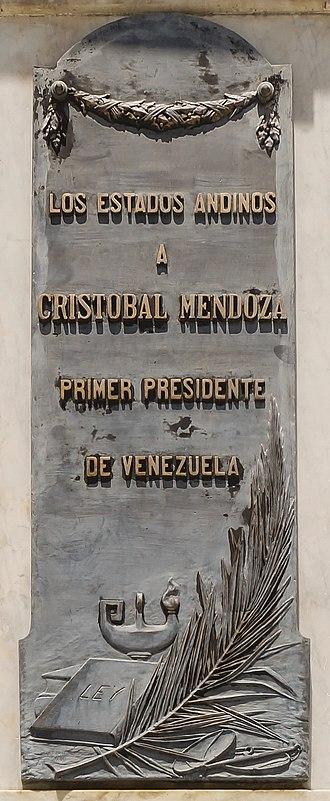 Cristóbal Mendoza - Plaque to Cristobal Mendoza in his birthplace of Trujillo