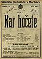 Plakat za predstavo Kar hočete v Narodnem gledališču v Mariboru 25. junija 1927.jpg