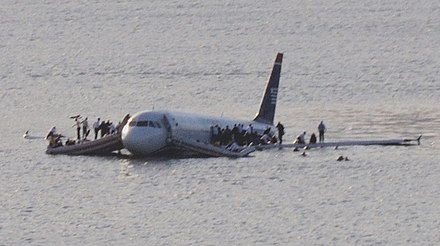 US Airways Flight 1549 was written off after ditching into the Hudson River Plane crash into Hudson River muchcropped.jpg