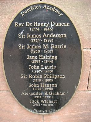 Dumfries Academy - Dumfries Academy plaque of notable pupils