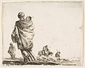Plate 21- a poor woman to left, seen from behind, enveloping her child in a shawl, another woman seen from behind to left in background, a woman atop a horse and a man to right in background, from 'Diversi capricci' MET DP817345.jpg