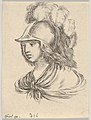 Plate 9- bust of Minerva, wearing a helmet with feathers, looking towards the left, from 'Various heads and figures' (Diverses têtes et figures) MET DP831154.jpg